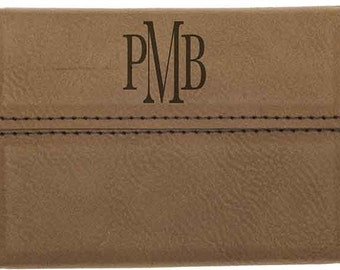 Custom Engraved Leather Business Card Case - Groomsmen Gift - Father's Day Leather Case - Groomsman Business Card Case