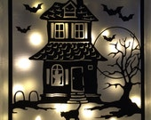 Halloween Glass Block SVG File, SVG cut file, Haunted House, Halloween crafts, Glass Blocks, Vector art, Decoration, Craft