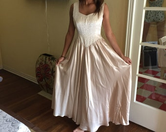 Vintage Satin Gown XS Petite / Beige Princess Gown Simple Classy Gorgeous