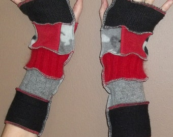 Upcycled Sweater Fingerless Gloves Arm Warmers Red Black Grey Camo