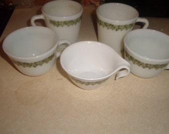 lot 5 vintage corelle crazy daisy spring blossom coffee cups mugs
