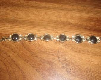 vintage bracelet black enamel rhinestones