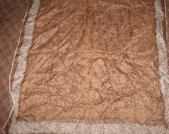 vintage ladies head neck scarf brown basketweave design
