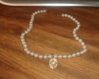 vintage necklace choker faux pearls goldtone rhinestones drop
