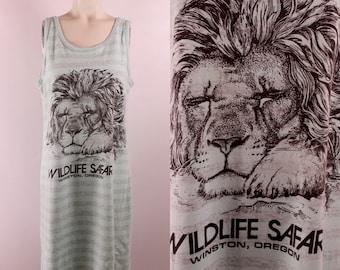 Vintage 90s - Pastel Mint Green & Grey Stripe - Lion - Wildlife Safari - Winston Oregon - Souvenir Novelty Tee T Shirt Tank Top Dress