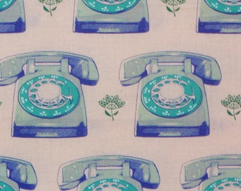 Rotary Phones, Retro Phones Fabric, Cotton and Steel, Blue Dial Phones, Trinket Collection, By the Yard