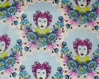 Tula Pink Fabric,  Elizabeth Tart, Tula Pink Elizabeth Portraits, 16th Century Selfie,  Sky Tart,  By the Yard, Cotton Fabric, Free Spirit