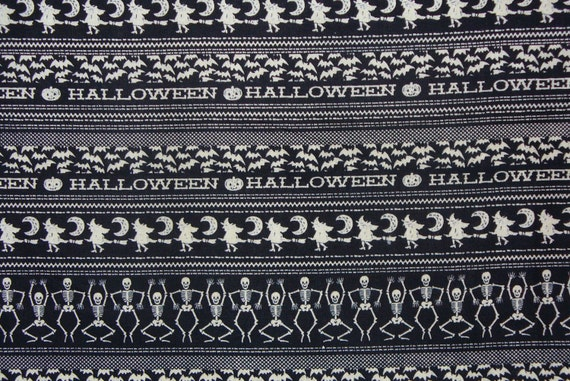 Halloween Fabric, Witches, Skeletons, Black Cats, Halloween, Bats Fabric, Glow in the Dark Halloween Fabric, In Rows,  By the yard