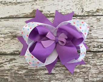 Purple Handmade Grosgrain Ribbon Boutique Bow