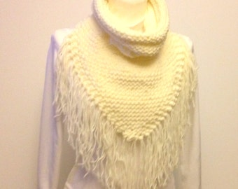 Triangle Scarf Cowl With Collar Hand Knit Fringed Scarf Ivory Knitted Scarf Cowl Ready To Ship