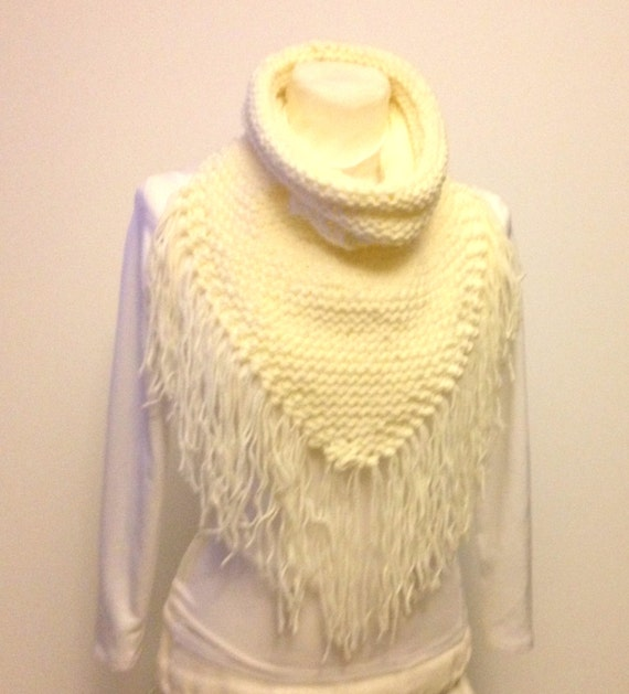Triangle Scarf Cowl With Collar Hand Knit Fringed Scarf Ivory