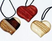 Set of 3 hardwood heart ornaments