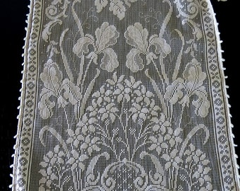 Ecru Filet Lace Runner Iris and Roses Picot Lace Trim 13 by 41 Inches 53b