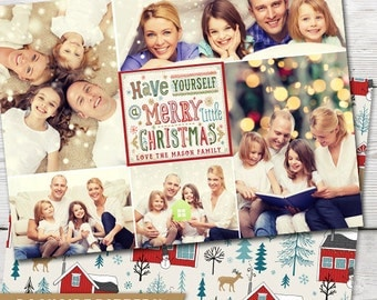 Merry Little Christmas Collage Multi Photo PRINTABLE Holiday Photo Card, Holiday Photo Card, Christmas Photo Card, Christmas Card Photo