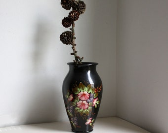 Vintage  Vase. Black Russian Lacquered Hand Painted
