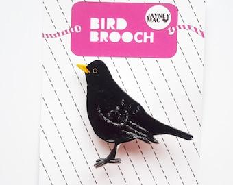 Blackbird Shrink Plastic Brooch Pin