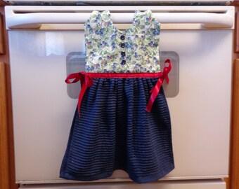 Blueberries on Blue - Hanging Kitchen Towel