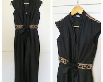 Vintage 70s Black Curve Hugging Jumpsuit with Southwest Detail Wide Leg Disco Mama One Piece Pantsuit Womens Small