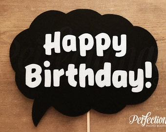 Felt Happy Birthday Sign | Happy Birthday Speech Bubble Sign