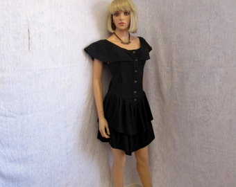 80s Sm Pelican Cove Cotton DRESS S/S Black Tiered Ruffled Peplum