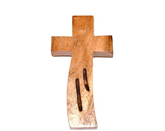 """Wood Wall Cross for your Cross Wall Decor; Rustic TX Mesquite;Original Crooked Cross; 4""""x7""""x1""""; Free Shipping USA; cc15-1033116"""