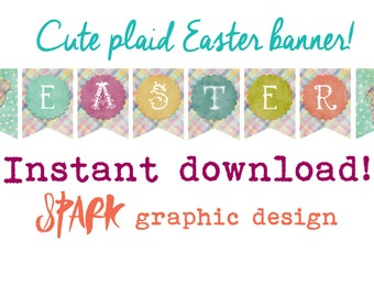 PRINTABLE Plaid Easter Banner Bunting Pastel Decor