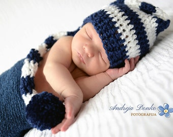 Long tail striped crochet navy blue and white elf hat newborn baby girl boy gender neutral photography prop - made to order