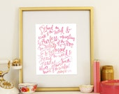 Psalm 82:3-4 Defend the Cause of the Weak & Fatherless Scripture Wall Art Bible Verse Handlettered Pink Adoption Printable Download
