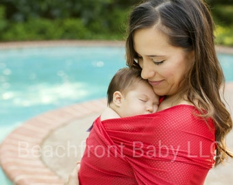USA made Beachfront Baby Wrap Carrier- SAFE water babywearing at the beach, pool, water park or in the shower- Tropical Punch mesh