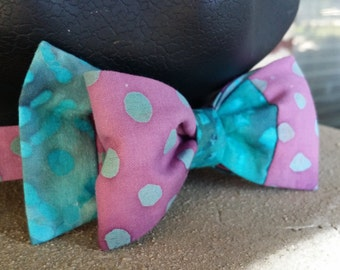 Aqua and Lavender Bow Tie