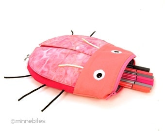 Pink Beetle Bag by MinneBites / Girls Cute Pencil Pouch - Kids Drawing Supplies Organizer - Toddler Bug Toy - School Bag - Ready to Ship