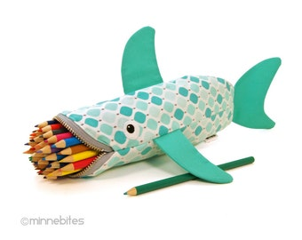 Cute Organizer - Office Gift - Shark Bag - Pencil Case - Adult Coloring Pouch - Personalized Gift for Kids - Animal Purse - Planner Pouch