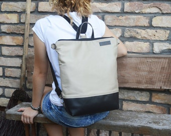 Leather Tote Backpack, Canvas Tote Backpack, Beige Black functional bag, Unisex Laptop Carrier, Minimalist Zippered Backpack, Functional bag