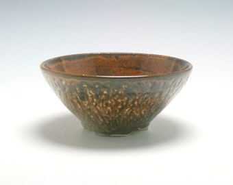 Handmade Stoneware Ceramic Small Serving Bowl in Burnt Umber and Light Brown/Ceramics and Pottery