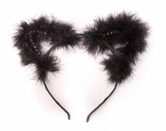 Kitten Play Ear - DDLG - PetPlay - Cat Ear Headband - Petplay Ear - Fur Cat Ears - Black Cat Ears - Kittenplay - Kitty Ears - Kitten Ear s