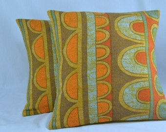 """Linen Pillow Cover Cushion Cover Vintage Pillow Retro Pillow Geometric Pillow - 16"""" Pillow Cover"""