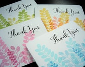 Stamped Thank You Cards Set of 4, Eucalyptus Notecards Set