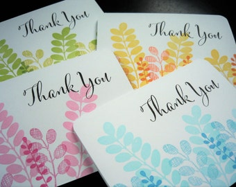 Stamped Thank You Cards Set of 4, Mother's Day Gift, Eucalyptus Notecards Set, Stationery Set