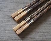Teak + Palm Wooden Chopstick Unique Design High Quality Handmade Eco Friendly
