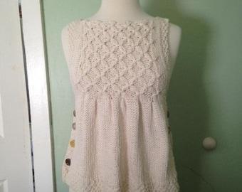 Smocked Pullover Vest Knitting Pattern--PDF
