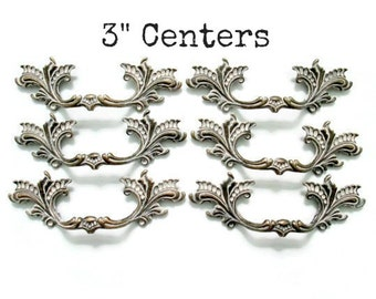 """French Provincial drawer pulls - 3"""" centers - Lot of 6 furniture handles - More Available and Different Colors Available"""