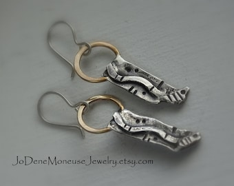 Reticulated sterling silver and gold earrings, rustic, unique, one of a kind, mixed metal, metalsmith jewelry