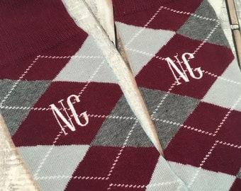 Groom Socks - Burgundy - Maroon - Wine Red -  Groomsmen Gift - Monogram Socks - Mens Dress Socks - Wedding Party Gift - Wedding Socks