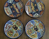 On SALE  - Set of 4 Vintage Talavera made in Mexico for Terra Fina Lead Free Plates