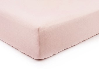 Dusty rose linen fitted sheet, Queen bed sheets, King sheets, Double Full or Twin size fitted sheets, Dusty rose linen bedding