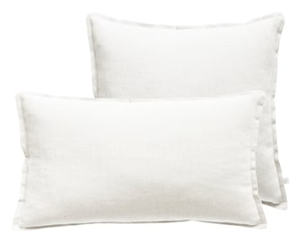 White linen decorative pillow covers Square or lumbar pillows made of soft washed linen