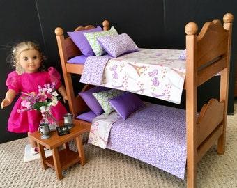 American Girl Doll: furniture, bunk beds lavender Paris bedding
