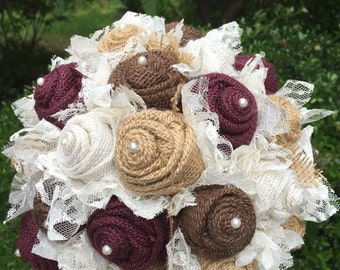 Wine, burgundy, maroon Burlap and Lace Bridal Bouquet / rustic wedding bride's bouquet / rustic romance / burlap bouquet/ wine and roses