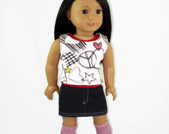 18 inch doll clothes, 4 piece outfit  designed to fit like American Girl® doll clothes, Graffiti shirt, red shirt, denim skirt, knee socks