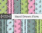 Dessiné à la main numérique papier, Floral numérique, utilisation commerciale, fleurs et feuilles fond, papier de Scrapbooking Digital